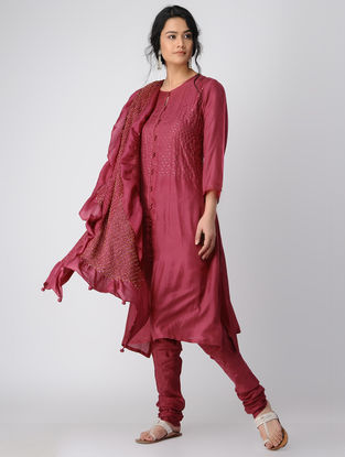Plum Silk Kurta-Pants-Dupatta with Mukaish Work (Set of 2)