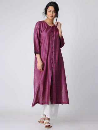 Purple Silk Kurta