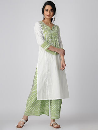 Green-White Bandhni Cotton Kurta-Pants with Badla Work (Set of 2)