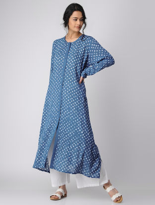 Blue Button Down Bandhni Cotton Kurta