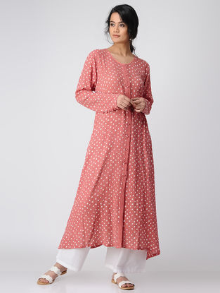 Peach Button Down Bandhni Cotton Kurta