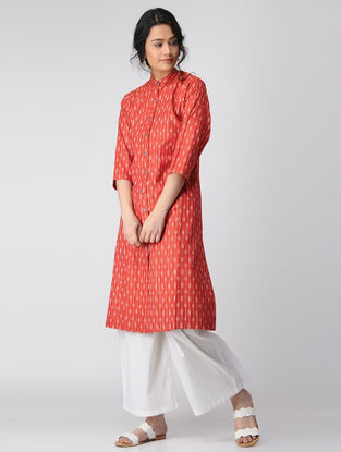 Red Button Down Cotton Kurta
