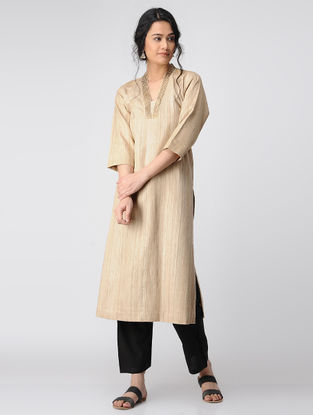 Beige Tussar Silk Kurta with Sequin Work