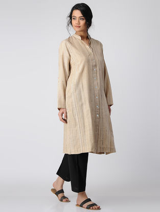 Beige Button Down Khadi Silk Kurta