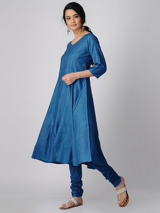 Blue Silk Kurta-Pants with Tikki Work (Set of 2)