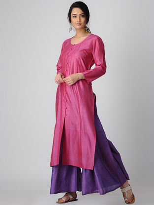 Pink-Purple Silk Kurta-Pants with Badla Work (Set of 2)