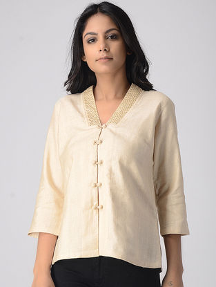 Ivory Embellished Tussar Silk Crop Top