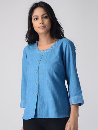 Blue Khadi Crop Top