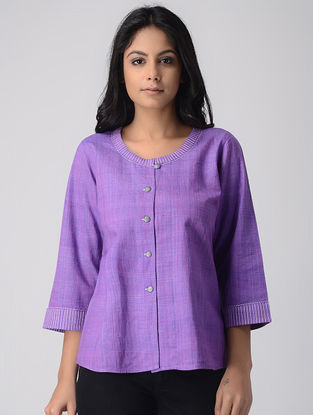 Purple Khadi Crop Top