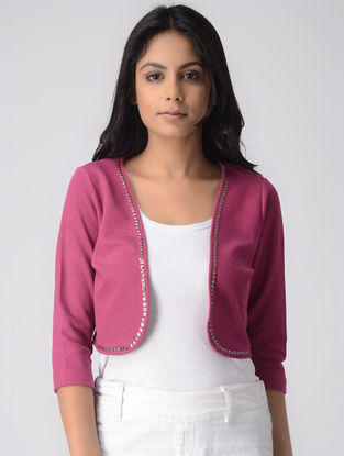 Pink Poly Cotton Shrug with Tikki Work