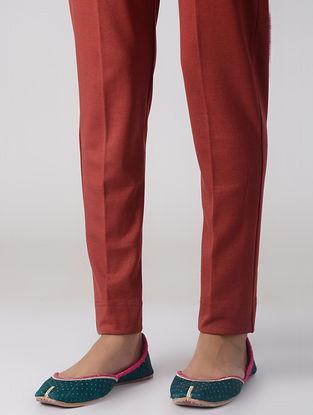 Rust Cotton Elasticated Waist Pants