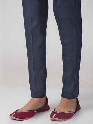 Navy Blue Cotton Elasticated Waist Pants