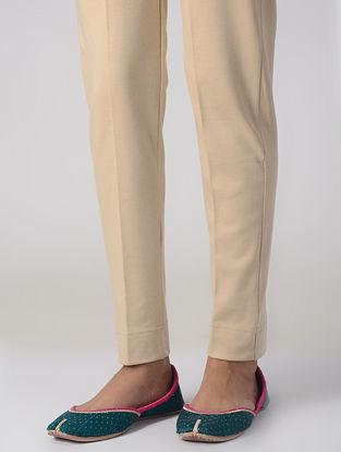 Beige Cotton Elasticated Waist Pants