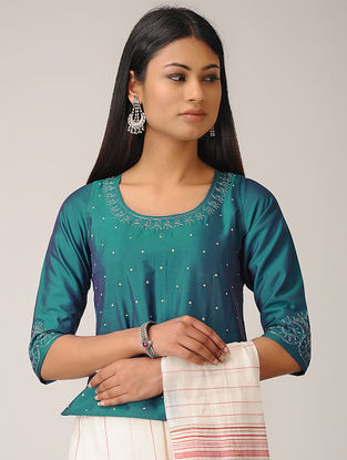 Blue Embroidered Cotton Silk Top