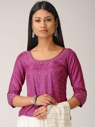 Magenta Embroidered Cotton Silk Top