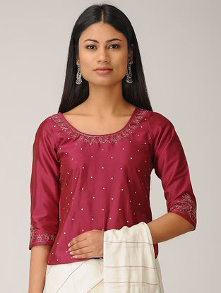 Maroon Embroidered Cotton Silk Top