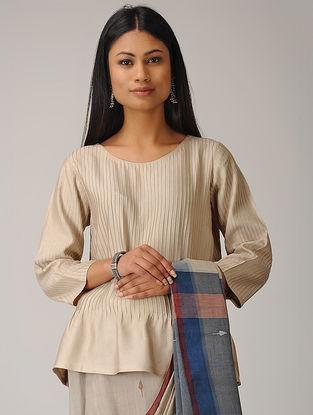 Beige Pintuck Cotton Silk Top