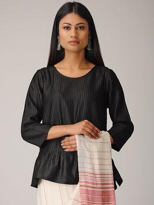 Black Pintuck Cotton Silk Top