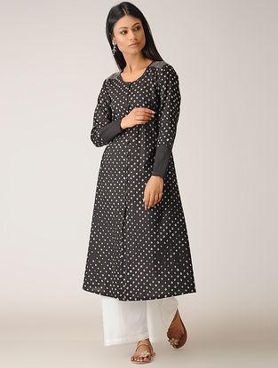 Black Bandhani Cotton Kurta