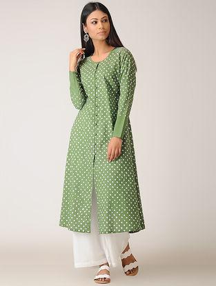 Green Bandhani Cotton Kurta