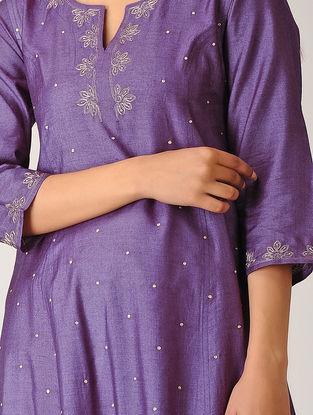 Purple Embroidered Silk Kurta