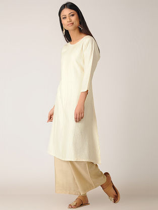 Ivory Pintuck Cotton Silk Kurta