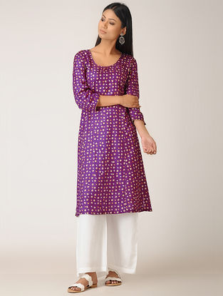 Purple Bandhani Silk Kurta