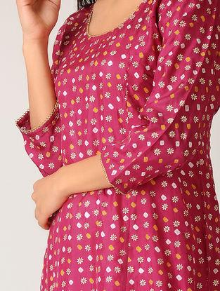 Pink Bandhani Silk Kurta