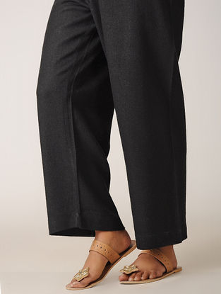 Black Tie-up Waist Ghicha Silk Pants
