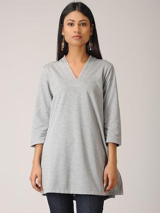 Grey Poly Cotton Kurta