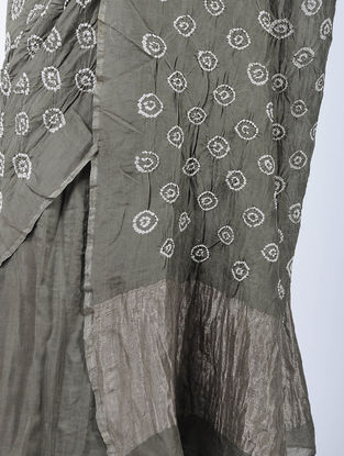 Grey-Ivory Bandhani Cotton Silk Saree with Zari