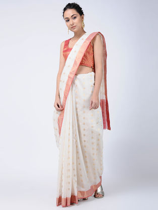 Ivory-Pink Cotton Silk Saree with Zari