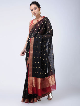 Black-Red Cotton Silk Saree with Zari