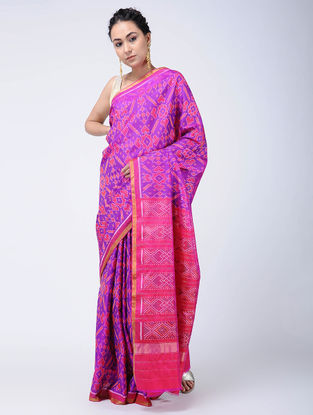 Purple-Pink Ikat Silk Patola Saree with Zari