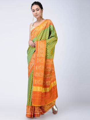 Green-Orange Ikat Silk Patola Saree with Zari