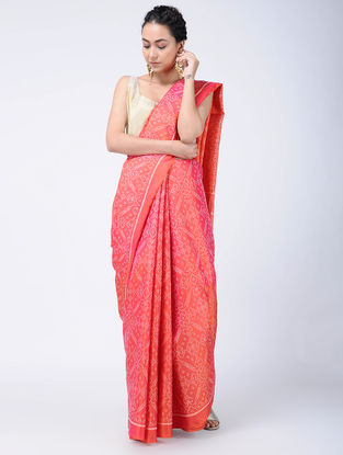 Pink-Ivory Ikat Silk Patola Saree with Zari