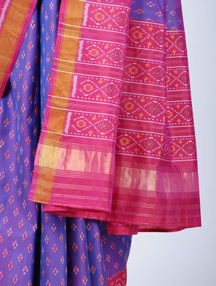 Blue-Pink Ikat Silk Patola Saree with Zari