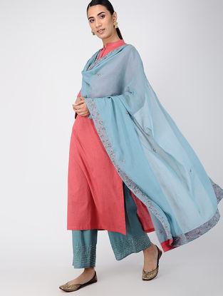 Blue Hand-embroidered Cotton Dupatta