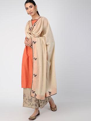 Beige Hand-embroidered Cotton Dupatta