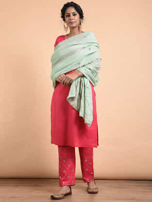 Aqua Hand-embroidered Cotton Dupatta