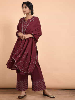 Maroon Hand-embroidered Cotton Dupatta