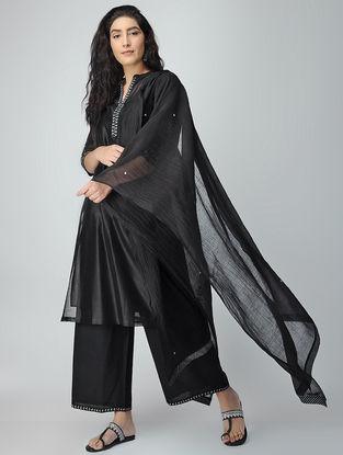 Black Aari-embroidered Cotton Dupatta