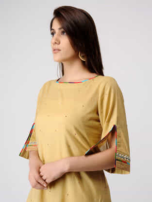 Beige Cotton Kurta with Gota Embroidery & Kantha Work