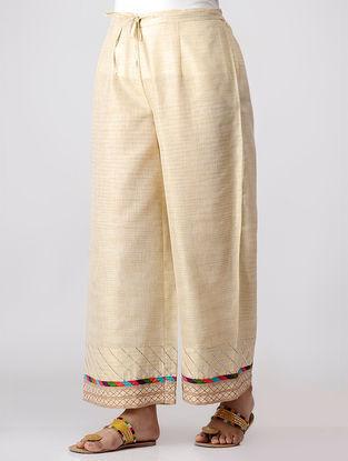 Ivory Khadi Pants with Gota Quilting & Magzi Piping