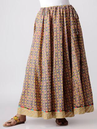 Blue-Yellow Cotton Skirt with Gota Work & Magzi Piping