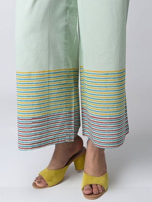Aqua Block-printed Elasticated Waist Cotton Pants