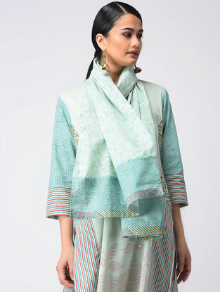 Aqua Block-printed Cotton Stole