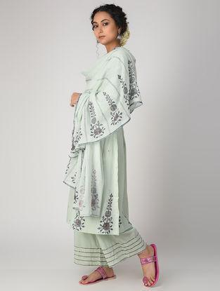 Aqua Block-printed Cotton Dupatta with Embroidery