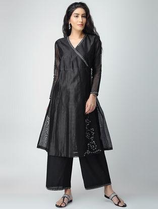 Black Aari-embroidered Chanderi Angarkha Kurta