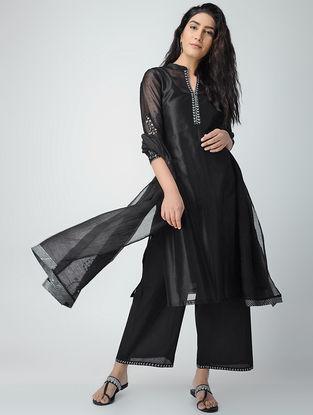 Black Aari-embroidered Chanderi Kurta with Slip (Set of 2)